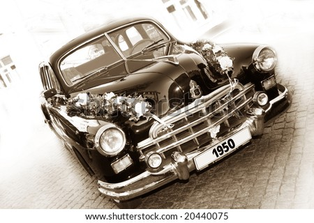 Vintage car (sepia) - stock photo