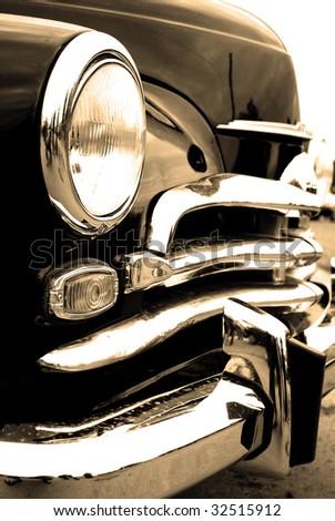 Vintage car. Sepia - stock photo