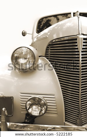 Vintage car. Sepia - stock photo