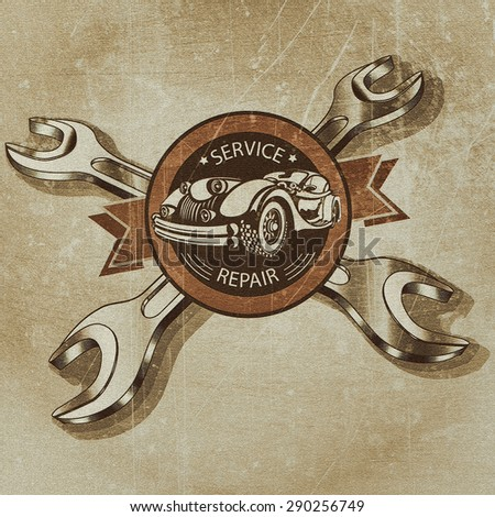 Vintage car service and repair label. - stock photo