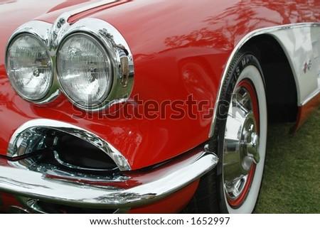 vintage car wheel - stock photo