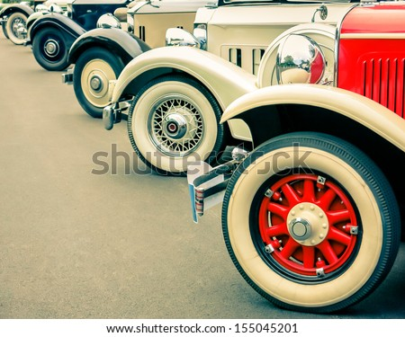 Vintage Car Wheels - Classic Vehicles - stock photo