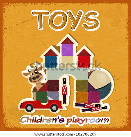 Vintage card and a picture of old toys - invitation in game room for children. - stock photo