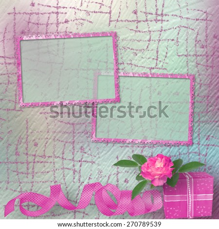 Vintage card for congratulations and invitations with a bouquet of pink roses and gift - stock photo