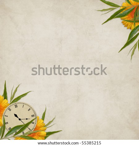 Vintage card for the holiday with flower and clock on the abstract background - stock photo