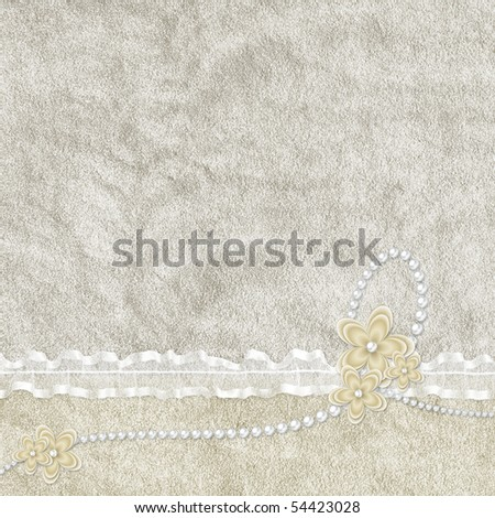 Vintage card from flowers and pearl on the abstract background - stock photo