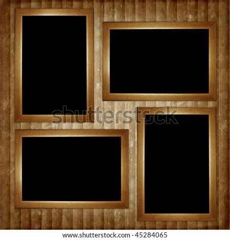 Vintage card from  wooden frame on the abstract background