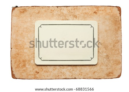 vintage card isolated on white background - stock photo