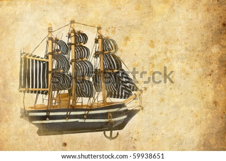 vintage card of an old miniature boat - stock photo