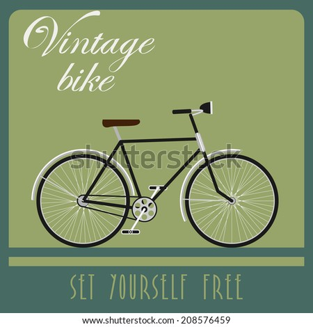 Vintage card of black bicycle in retro style.  - stock photo