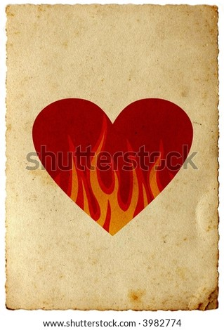 Vintage card of heart in flames over sepia paper background