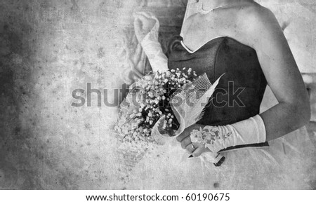 vintage card with a bridal bouquet in black and white - stock photo