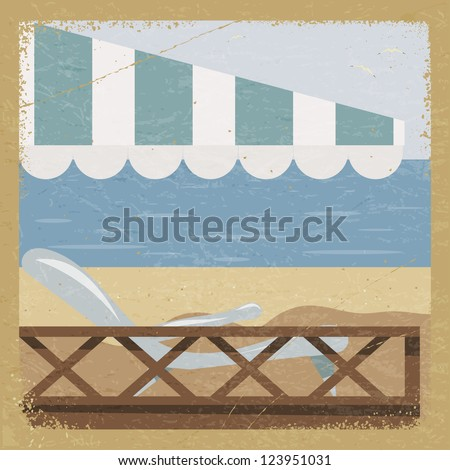 Vintage card with a sea view and the elements of grunge. - stock photo