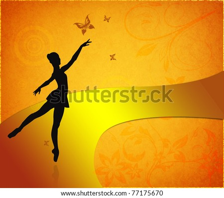 Vintage card with ballet dancer - stock photo