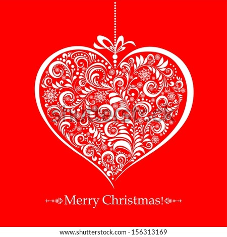 Vintage card with Christmas heart.  illustration - stock photo