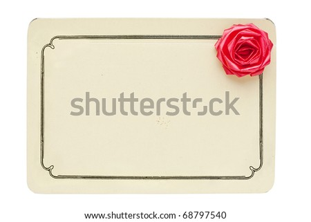 vintage card with decorative rose isolated on white background with copy space - stock photo