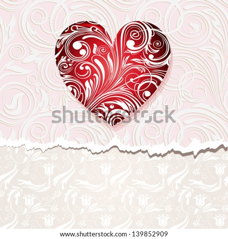 vintage card with heart - stock photo