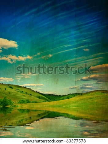 Vintage card with landscape - stock photo