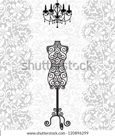 vintage card with mannequin and chandelier on lace background - stock photo