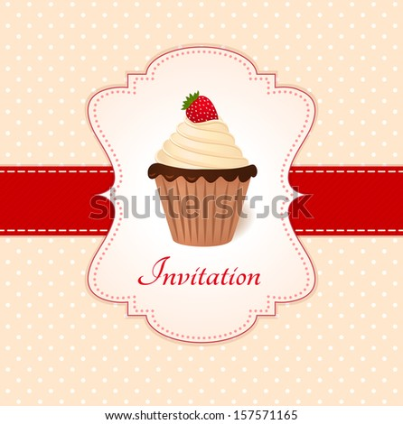 Vintage card with strawberry cupcake.  - stock photo