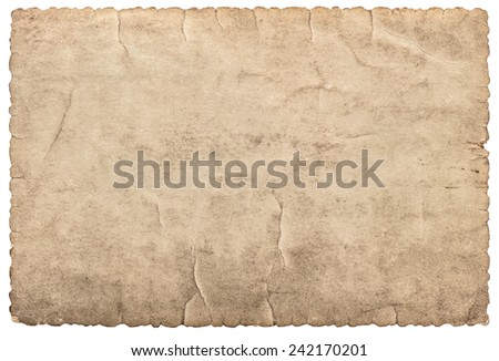 vintage cardboard as frame for photos and pictures. used paper isolated on white background - stock photo