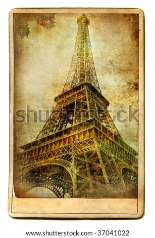 vintage cards - European landmarks -Eiffel tower - stock photo