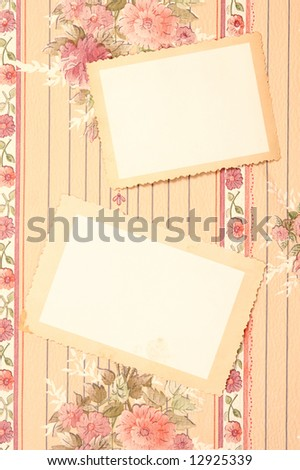 vintage cards on the wall - stock photo