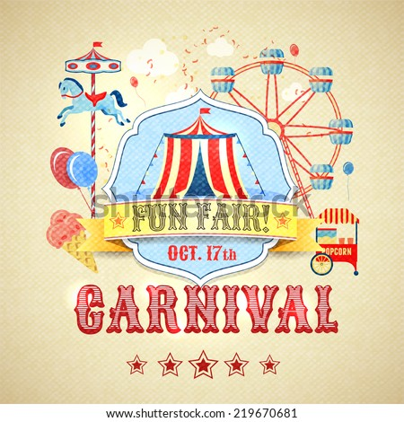 Vintage carnival fun fair theme park advertising poster  illustration - stock photo