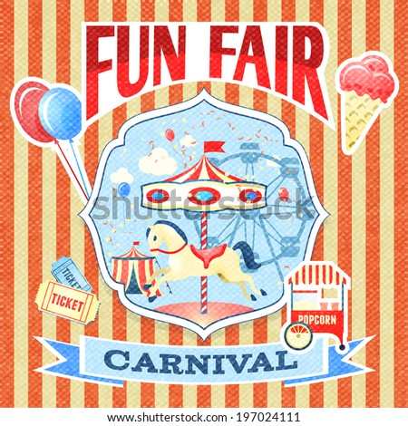 Vintage carnival fun fair theme park poster template  illustration - stock photo