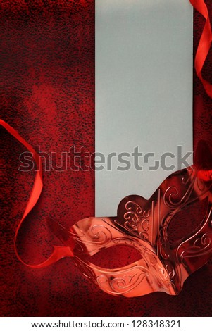Vintage carnival mask with blank banner - stock photo