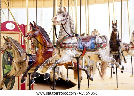 vintage carousel - stock photo