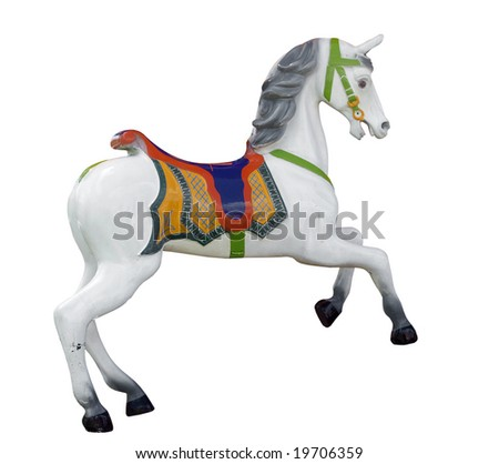 Vintage Carousel Horse isolated with clipping path - stock photo