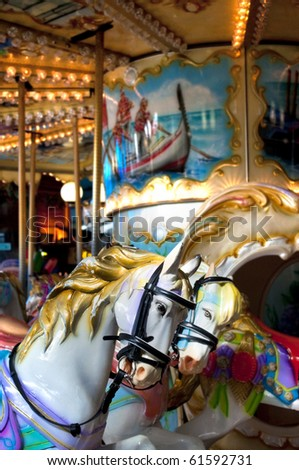 vintage carousel ride in the theme park - stock photo