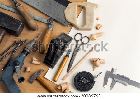 Vintage carpentry workplace. 'Still life' with old carpentry's tools. Horizontal composition - stock photo