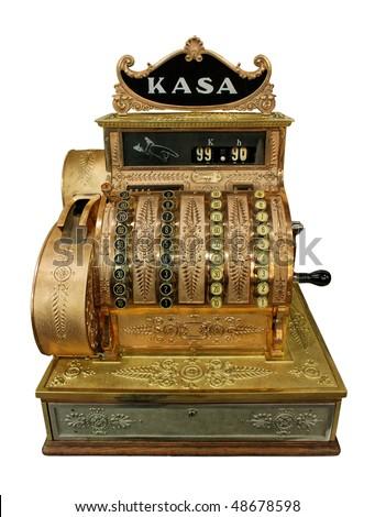 Vintage cash-desk isolated on white - stock photo