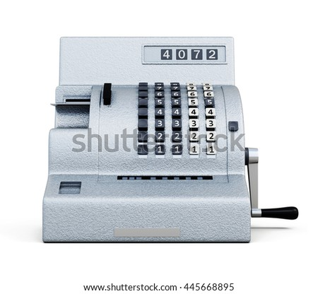 Vintage cash register front view isolated on white background. 3d rendering.