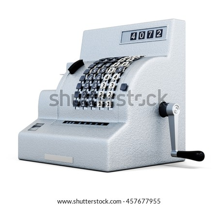 Vintage cash register isolated on white background. 3d rendering.