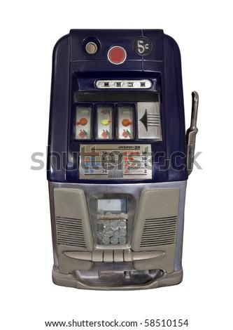 Vintage casino slot machine with buffalo nickels. - stock photo