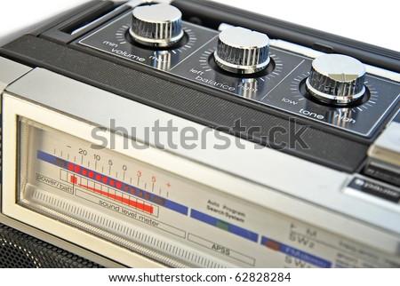 Vintage cassette recorder, closeup - stock photo