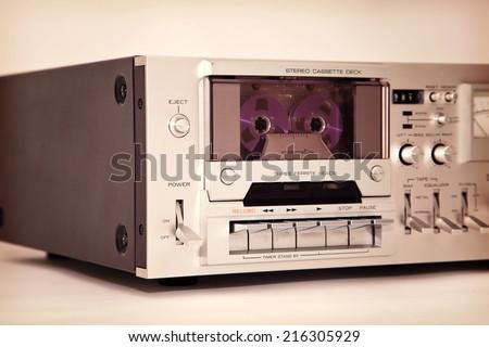 Vintage cassette stereo tape deck recorder  - stock photo