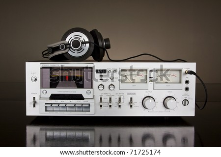 Vintage cassette stereo tape deck recorder - stock photo
