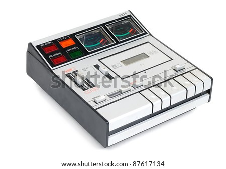 Vintage cassette tape recording on white background - stock photo