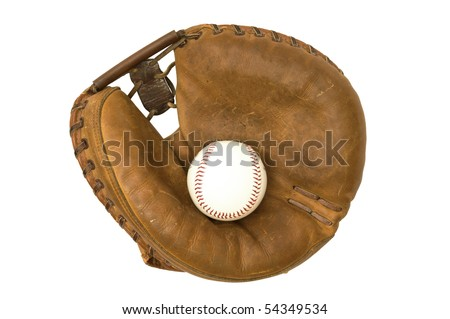 Vintage catcher's mitt and baseball. - stock photo