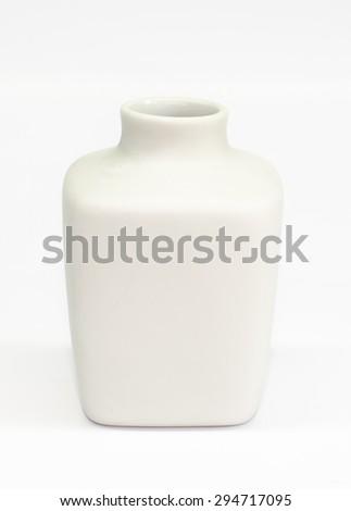 Vintage ceramic bottle isolated on white background - stock photo