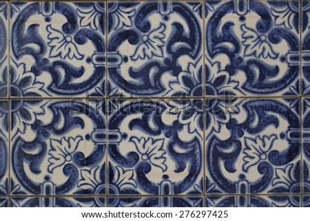vintage ceramic tile - stock photo