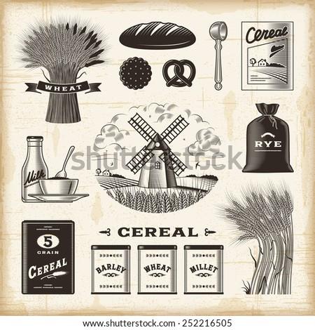 Vintage cereal set - stock photo