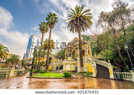 Vintage Cerro Santa Lucia in Downtown Santiago, Chile. - stock photo