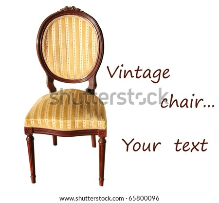 vintage chair isolated on white background.beautiful antique padded chair - stock photo