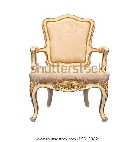 vintage chair isolated white background - stock photo