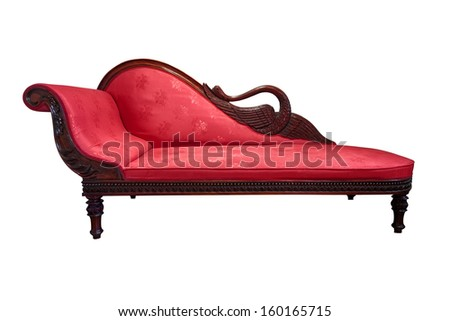 Vintage chaise longue isolated on white - stock photo